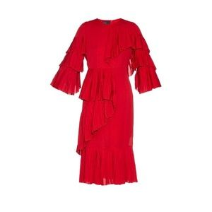 9db1ccd9be Gucci Dresses - GUCCI GEORGETTE RUFFLED SILK HIBISCUS RED DRESS S